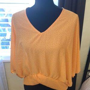 V-neck front and deep V back blouse, L